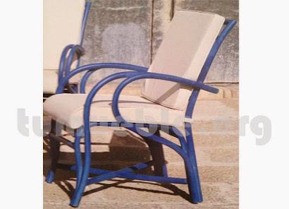 sillón para comedor con cojín hecho en caña de bambú j317