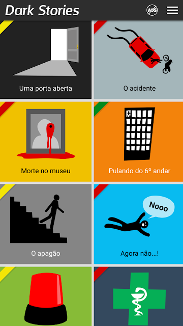 Tela inicial do jogo mobile Dark Stories