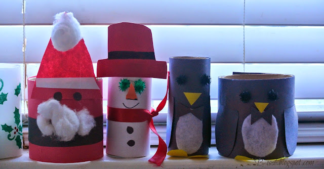 recycled crafts, santa claus, snowman crafts