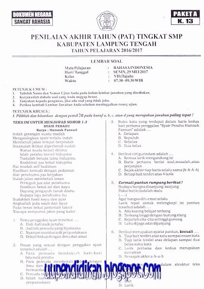 Naskah Soal PAT/ UKK Bahasa Indonesia Kelas 7 SMP/MTs Tahun 2018