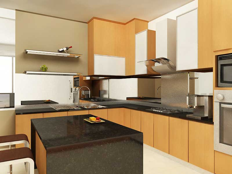 Dekorasi Dapur Rumah Flat Deco untuk ruang tamu kecil
