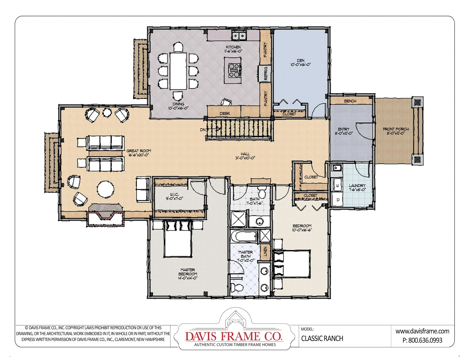Open Ranch Style Home Floor Plan