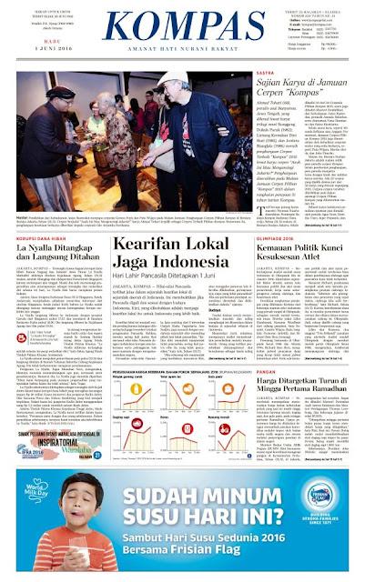 Kompas Edisi Rabu 1 Juni 2016