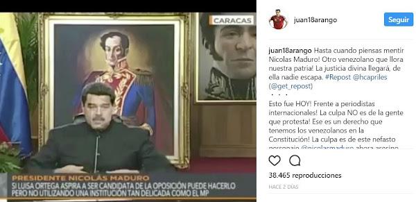 Juan Arango le da con todo a Nicolás Maduro