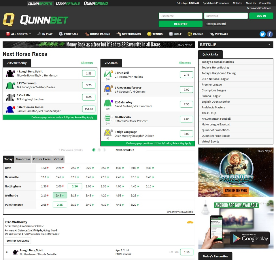 Quinnbet Screen