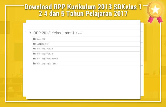 Download RPP Kurikulum 2013 SD Kelas 1 2 4 dan 5 Tahun Pelajaran 2016/2017