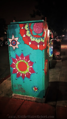 Flowers spray painted on an electrical Box.