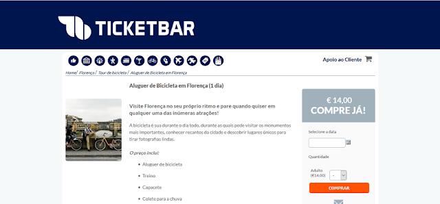 Ticketbar para ingressos para aluguel de bicicleta em Florença