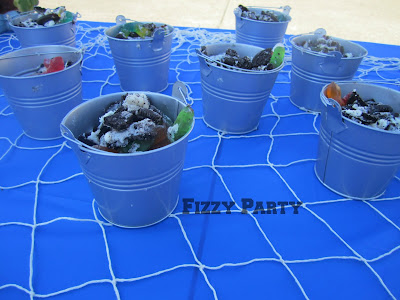 Retirement party, fishing theme, bait buckets