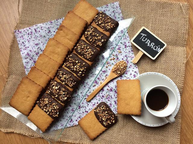 galletas de turrón y chocolate receta