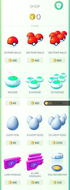 Loja do Pokemón GO