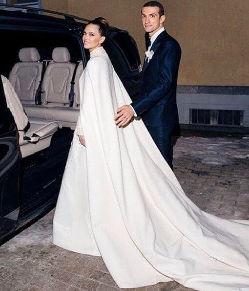 Dasha wore a wedding gown by Valentino. Princess Caroline, Charlotte Casiraghi, Beatrice Borromeo, Princess Alexandra, Princess Ekaterina
