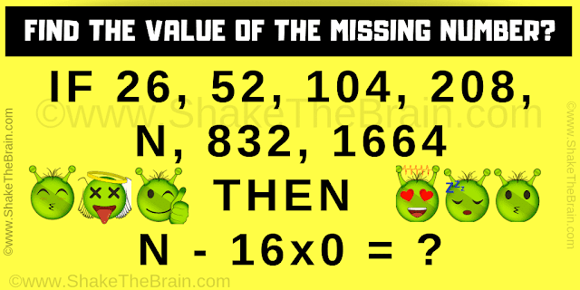 IF 26, 52, 104, 208, N, 832, 1664  THEN   N - 16x0 = ?