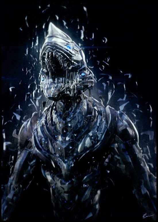 Riyahd Cassiem ilustrações digitais 3d ficção científica sombria robôs alienígenas