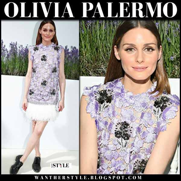 Olivia Palermo in lilac embroidered top and white mini skirt giambattista valli front row fashion july 2