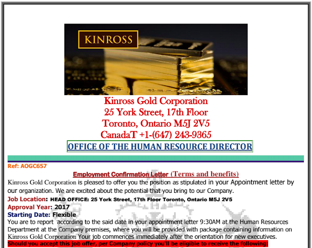 SCAM ALERT: Kinross Gold Corporation