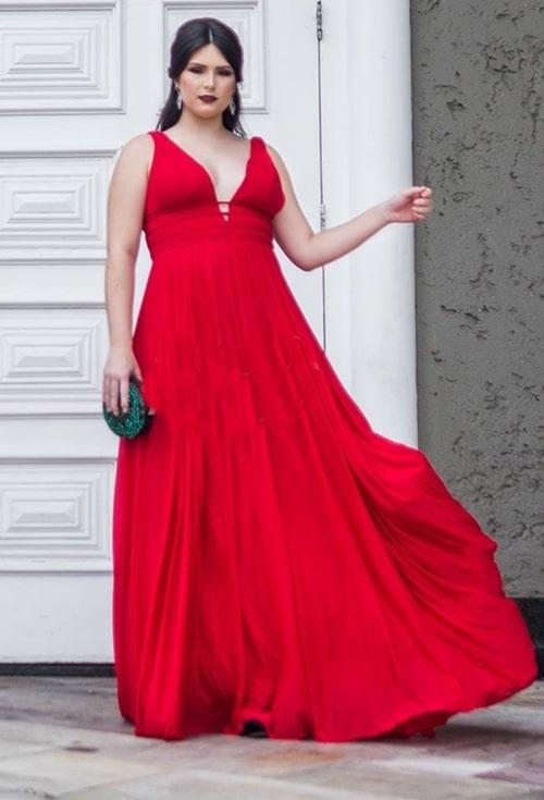 vestido longo vermelho plus size