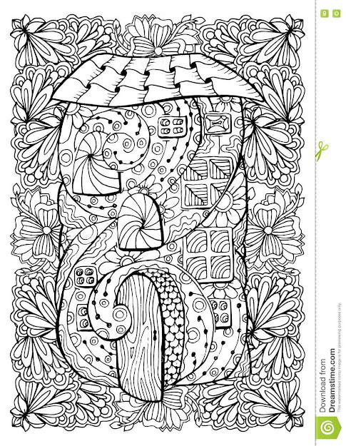 Adult Coloring Book Cover Design Mono Color Black Ink Illustration Vector  Art Fairy