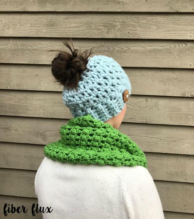 Fiber Flux Free Crochet Patternunky Messy Bun Hat