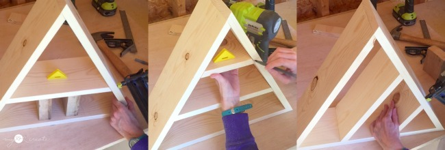 adding shelf boards to triangle shelf