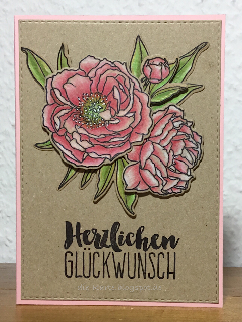 """Modern Peonies"" WPlus9 Design Stamps and Dies,  ""Glückwunsch"" Klartext Stempel"