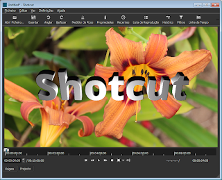 shotcut interface inicial em Português