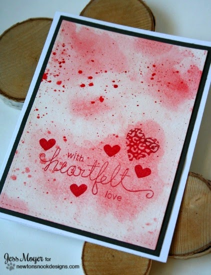 heartfelt watercolor card by Jess Moyer | stamps by Newton's Nook Designs