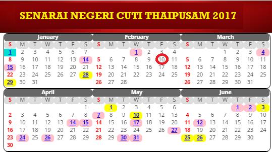 tarikh Cuti Thaipusam 2017