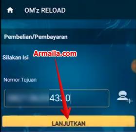 Masukkan nomor tujuan dan klik tombol lanjutkan
