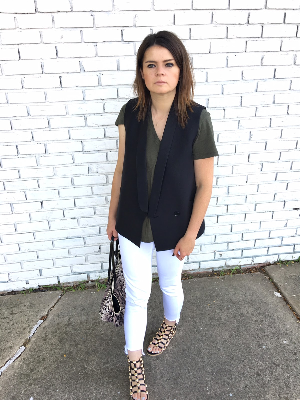 White jeans & edgy sandals