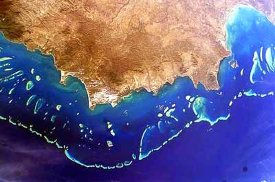 Arial view of the Great Barrier Reef