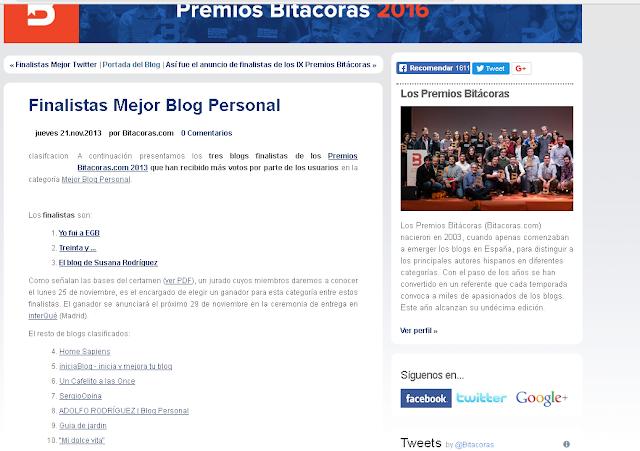 Finalistas mejor blog personal - Bitacoras 2013