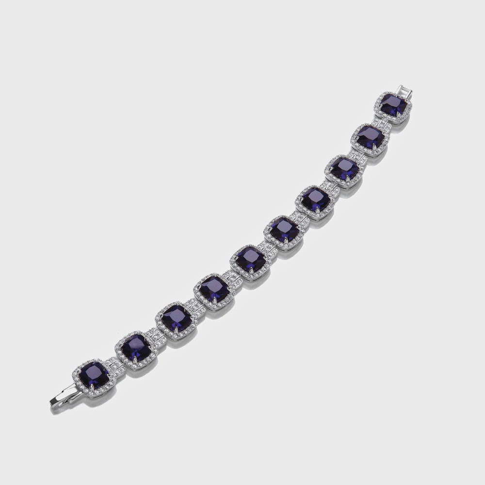 Attwood and Sawyer sapphire-style mayfair cushion-cut bracelet