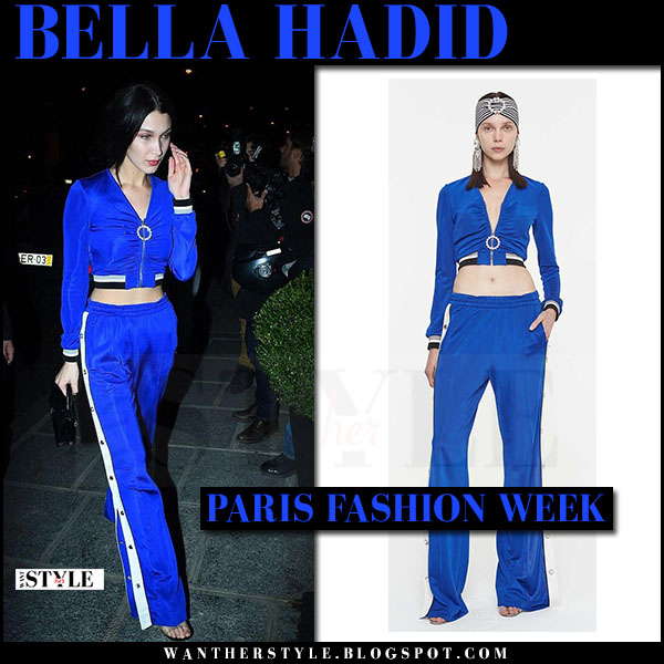 Bella Hadid in blue tracksuit trousers and blue zip up top alessandra rich what she wore paris fashion week 2017