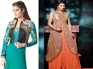 Jacket is a mid-hip length, with an ornamental decoration, sleeveless and slim shaped waist coat type chest covering short over-gown. It is also known as a Koti.
