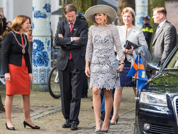 Queen Maxima at the opening of the exhibition emperor Porcelain at the Prinsenhof museum. Queen wore Natan Lace dress