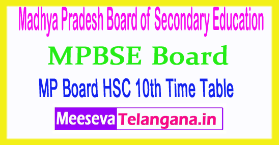 Board of Secondary Education Madhya Pradesh MP 10th Time Table 2019 Download
