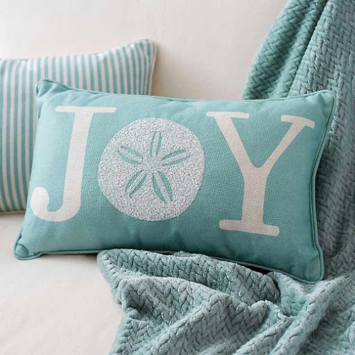 Blue Coastal Sand Dollar Joy Pillow