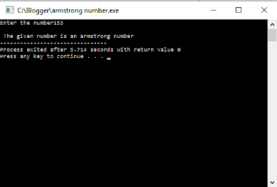 Checking Armstrong number output 1