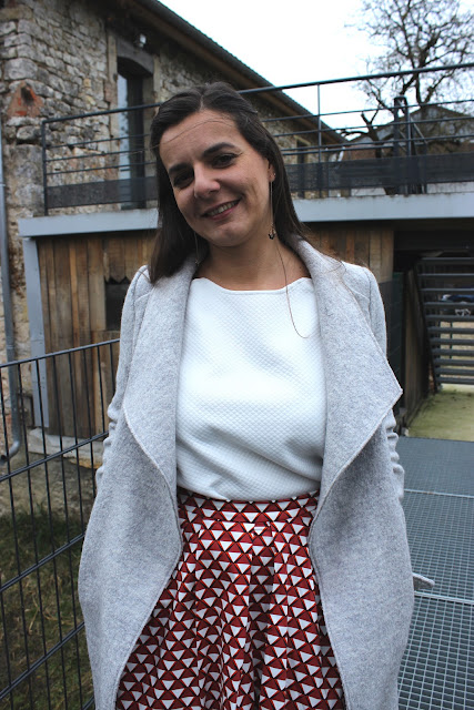 manteau pimkie, jupe mademoiselle R, look emprunté, les petites bulles de ma vie