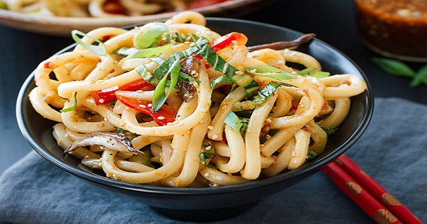 Chilled Garlic Sesame Udon Noodles With Vegetables Recipe
