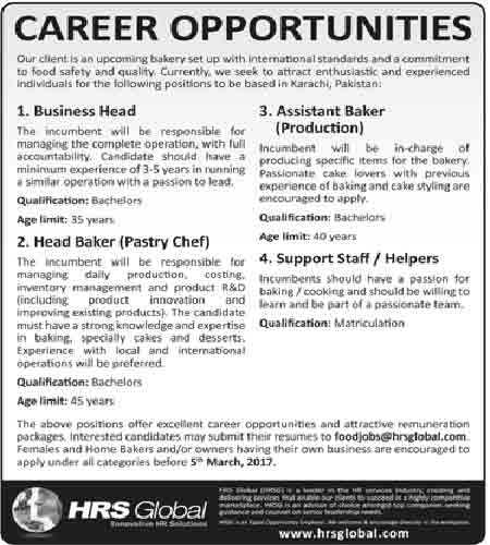 Jobs in Hrs Global Karachi 6 Feb 2017