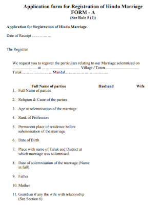 Marriage Application Form India