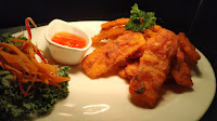 Garnished Thai crispy potato with chilly sauce Food Recipe