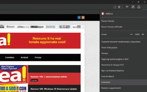 Novità browser Edge Windows 10 estensioni