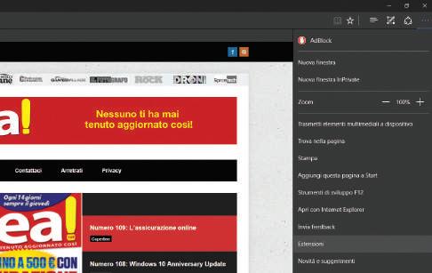 Novità browser Edge Windows 10 estensioni