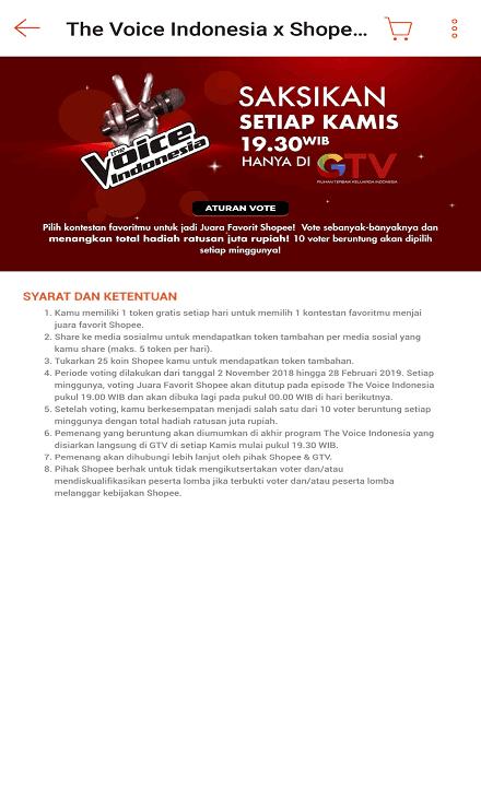 Syarat dan Ketentuan Voting The Voice Indonesia di Shopee.