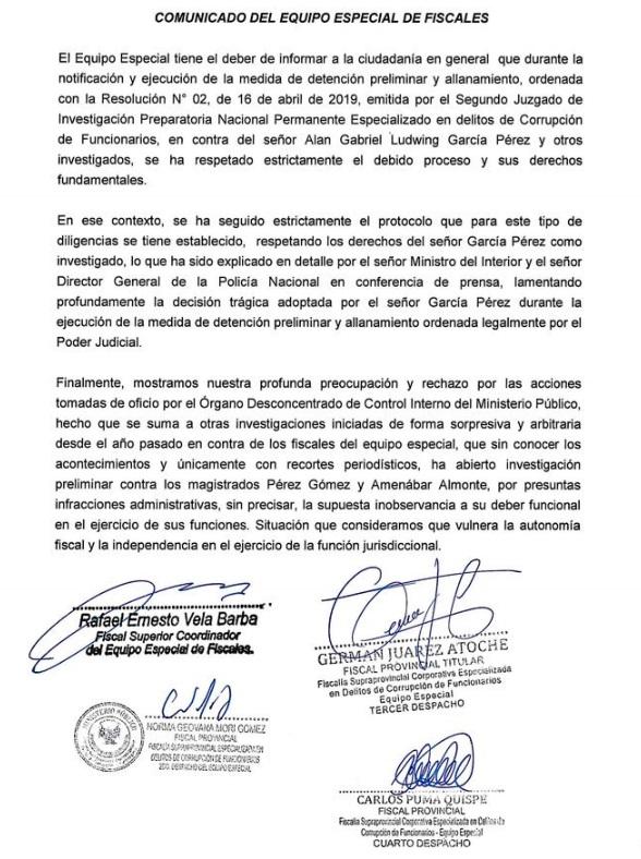 Comunicado del Equipo Especial LavaJato, tras muerte de Alan García