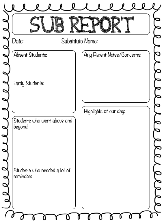 Substitute teacher report the crafty teacher for Day plan template for teachers