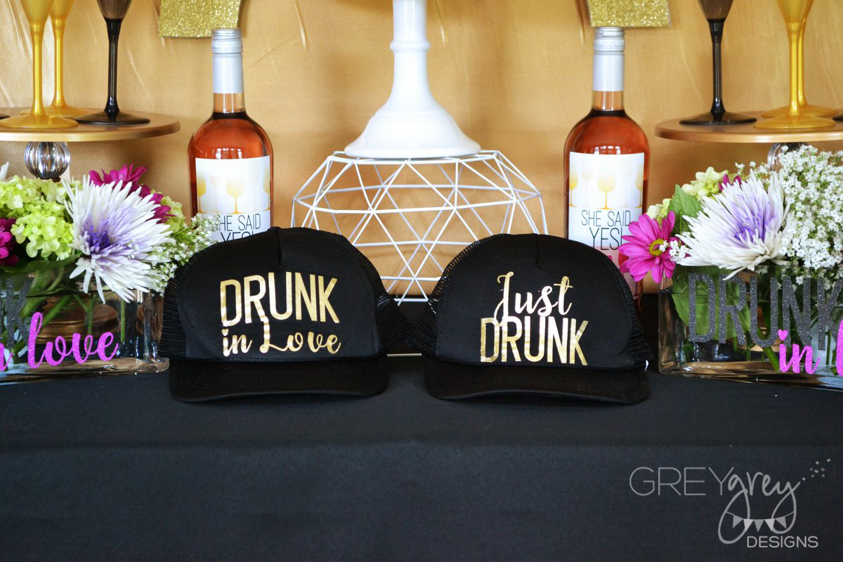 Greygrey designs diy bachelorette trucker hats and toasting flutes i love the idea of giving your guests a fun take home favor that they can use over and over for my bachelorette party i created my theme around a drunk solutioingenieria Choice Image